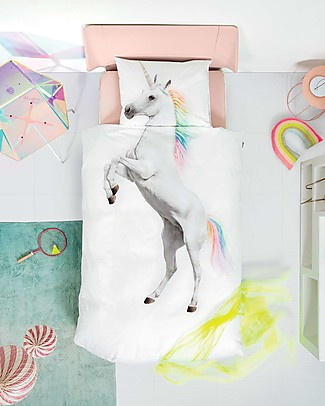 Snurk Bedding Set Duvet Cover and Pillowcase, Unicorn - Single Bed 140 x 200/220 cm - 100% Cotton Duvet Sets