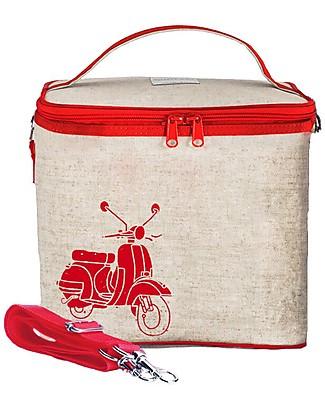 SoYoung Large Raw Linen Cooler Bag, Red Vespa - Insulated, machine washable! Lunch Boxes