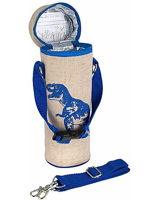 SoYoung Raw Linen Bottle Bag, Blue Dino – Insulated, machine washable! Lunch Boxes