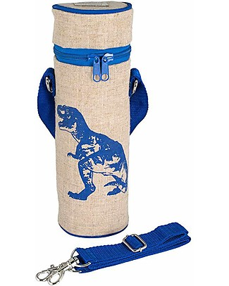 SoYoung Raw Linen Bottle Bag, Blue Dino - Insulated, machine washable! Lunch Boxes