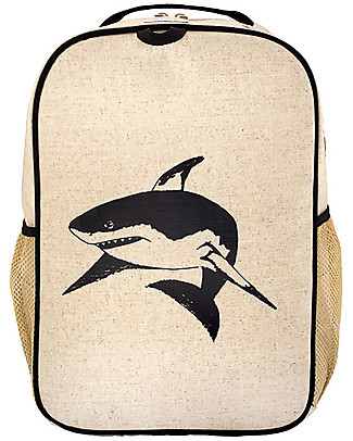 SoYoung Raw Linen Grade School Backpack, Black Shark – Machine washable! null