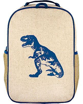 SoYoung Raw Linen Grade School Backpack, Blue Dino – Machine washable! Large Backpacks