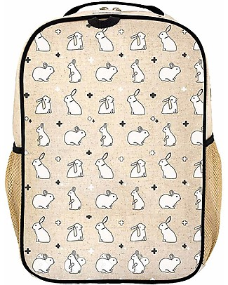 SoYoung Raw Linen Grade School Backpack, Bunny Tile – Machine washable! Large Backpacks