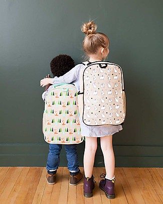 SoYoung Raw Linen Grade School Backpack, Bunny Tile – Machine washable! null