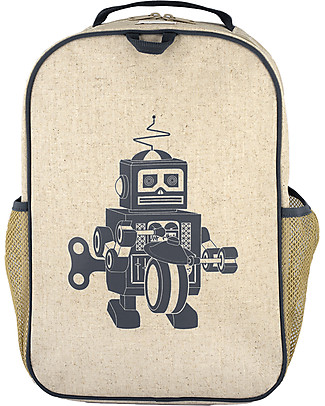 SoYoung Raw Linen Grade School Backpack, Grey Robot – Machine washable! null