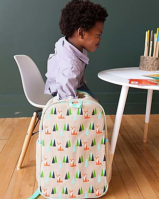 SoYoung Raw Linen Grade School Backpack, Olive Fox - Machine washable! Small Backpacks