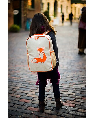 SoYoung Raw Linen Grade School Backpack, Orange Fox – Machine washable! Large Backpacks