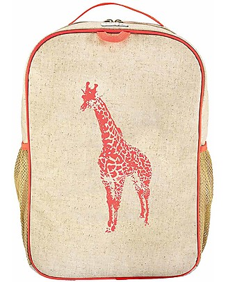 SoYoung Raw Linen Grade School Backpack, Orange Giraffe – Machine washable! null