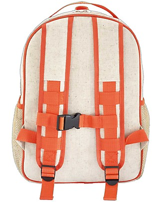 SoYoung Raw Linen Grade School Backpack, Orange Giraffe – Machine washable! Small Backpacks