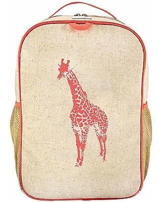 SoYoung Raw Linen Grade School Backpack, Orange Giraffe - Machine washable! Small Backpacks