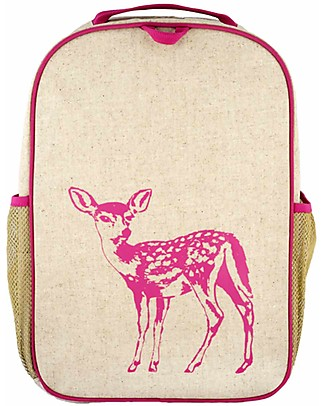 SoYoung Raw Linen Grade School Backpack, Pink Fawn – Machine washable! null