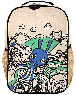 SoYoung Raw Linen Grade School Backpack, Pixopop Flying Stitch Bunny – Machine washable! null