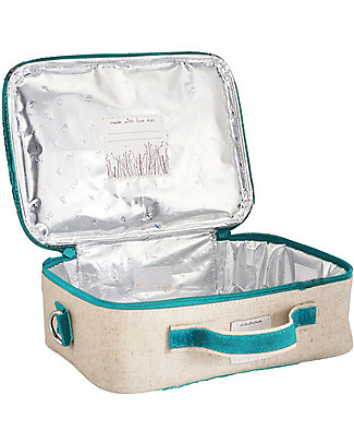 SoYoung Raw Linen Lunch Box, Aqua Bunny – Insulated, machine washable! Lunch Boxes