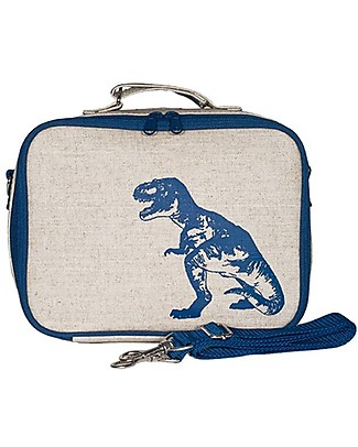 SoYoung Raw Linen Lunch Box, Blue Dinosaur – Insulated, machine washable! Lunch Boxes
