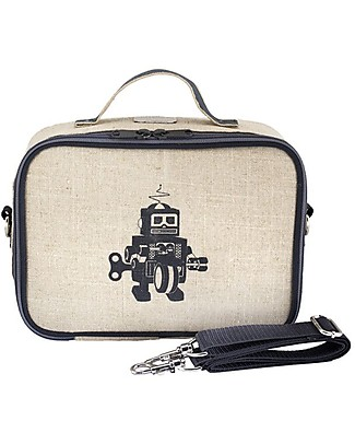 SoYoung Raw Linen Lunch Box, Grey Robot – Insulated, machine washable! Lunch Boxes