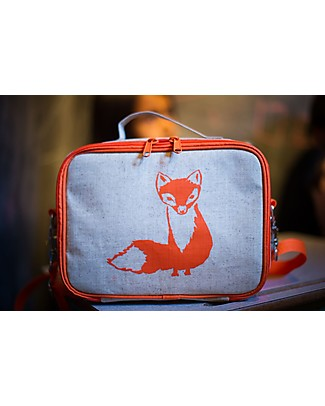 SoYoung Raw Linen Lunch Box, Orange Fox – Insulated, machine washable! Lunch Boxes