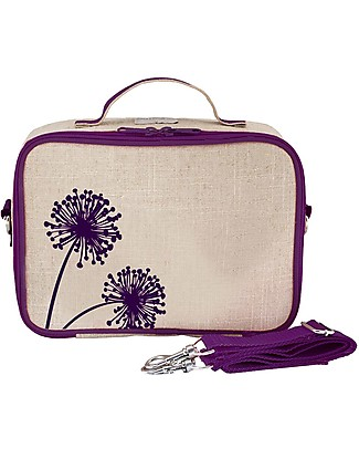 SoYoung Raw Linen Lunch Box, Purple Dandelion – Insulated, machine washable! Lunch Boxes
