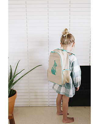 SoYoung Raw Linen Toddler Backpack, Aqua Bunny – Machine washable! Small Backpacks