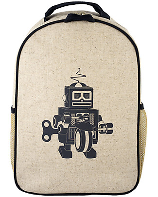 SoYoung Raw Linen Toddler Backpack, Grey Robot – Machine washable! Small Backpacks