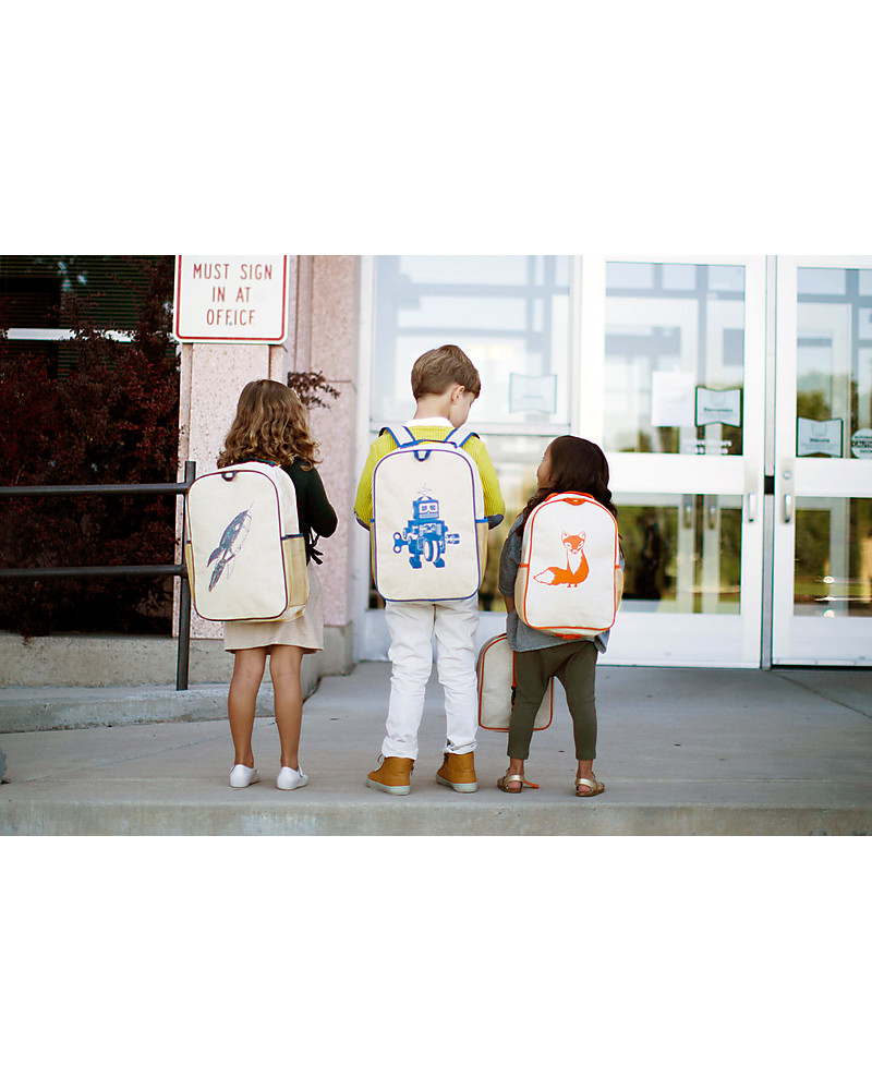 8693c1556a2f SoYoung Raw Linen Toddler Backpack, Orange Fox - Machine washable ...