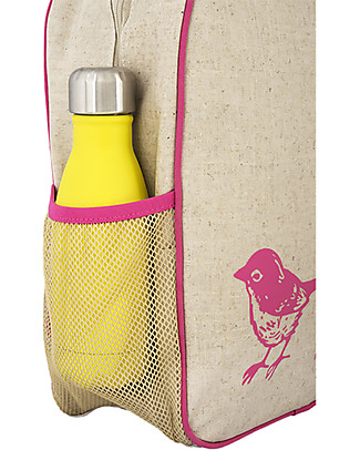 SoYoung Raw Linen Toddler Backpack, Pink Birds – Machine washable! Large Backpacks