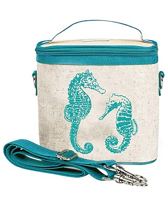 SoYoung Small Raw Linen Cooler Bag, Blu Seahorses – Insulated, machine washable! Lunch Boxes