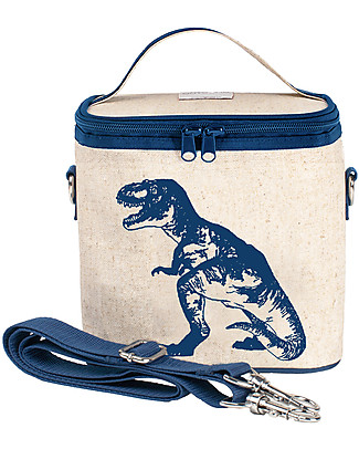 SoYoung Small Raw Linen Cooler Bag, Blue Dino – Insulated, machine washable! Lunch Boxes