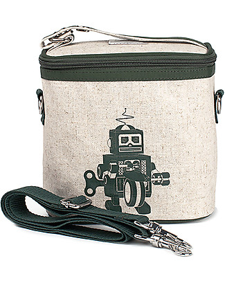 SoYoung Small Raw Linen Cooler Bag, Grey Robot – Insulated, machine washable! Lunch Boxes