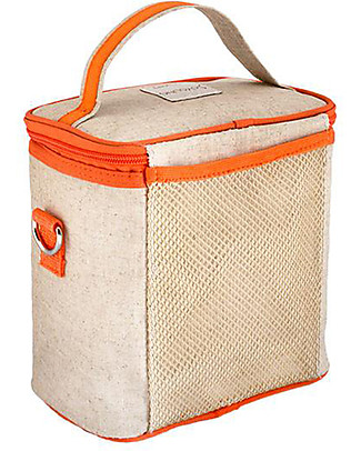 SoYoung Small Raw Linen Cooler Bag, Orange Fox – Insulated, machine washable! Lunch Boxes
