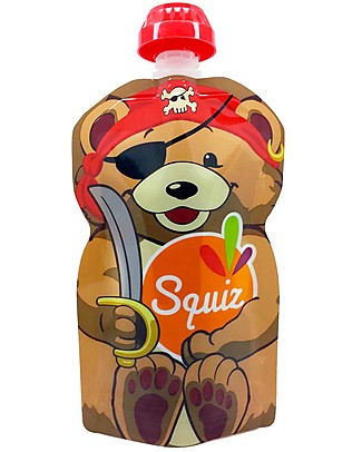 Squiz Eco-friendly Reusable Food Pouch - Pirate Bear - 130 ml Reusable Pouch