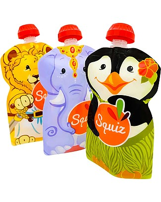 Squiz Set of 3 Eco-friendly Reusable Food Pouches - Elephant, Lion & Penguin - 130 ml Reusable Pouch