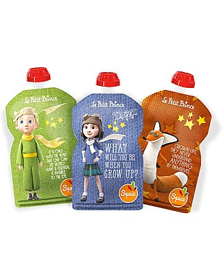 Squiz Set of 3 Eco-friendly Reusable Food Pouches - Little Prince - 130 ml Reusable Pouch