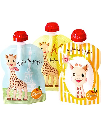Squiz Sophie la Girafe - Set of 3 Eco-friendly Reusable Food Pouches - 90 ml Reusable Pouch