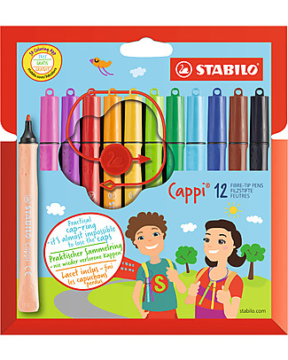 Stabilo Cappi Markers - Never Lose the Cap Again, case of 12 Colouring Activities