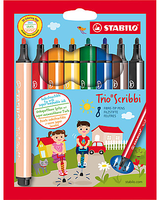 Stabilo Ergonomic Trio Scribbie Fibre-tip Pens, case of 8 - assorted colours Colouring Activities