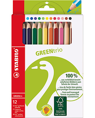Stabilo GreenTrio Crayons - Case of 12 assorted colours. Eco-friendly! Colouring Activities