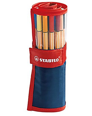 Stabilo Point 88 Pens, Rollerset of 25 -assorted colours null