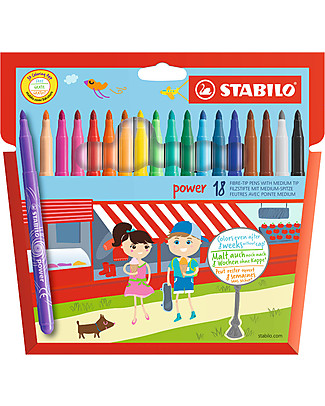 Stabilo Power Fibre-tip Pens, Case of 18 - assorted colours null