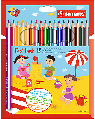 Stabilo Trio Maxi  Crayons - Case of 18, assorted colour - Sharpener Included null
