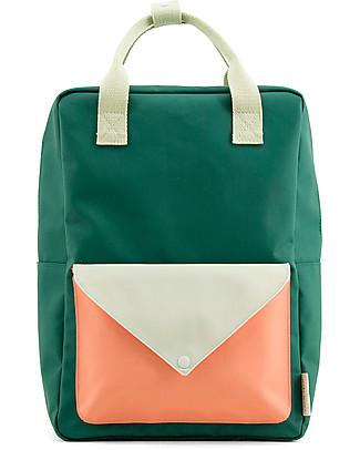 Sticky Lemon Backpack Envelope Large, Grass Green/Powder Blue/Coral Orange - 28x38 cm Large Backpacks