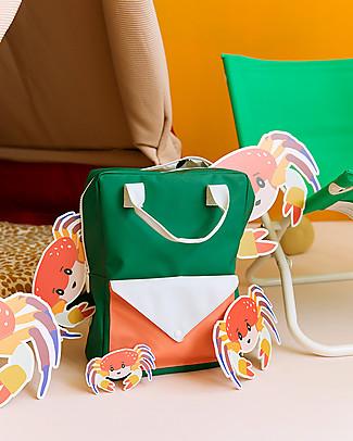 Sticky Lemon Backpack Envelope Large, Grass Green/Powder Blue/Coral Orange - 28x38 cm null