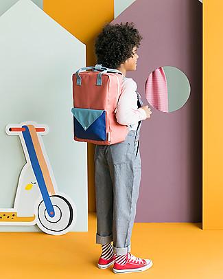 Sticky Lemon Backpack Envelope Large, Rusty red/Denim blue/Ink blue - 28x38 cm null