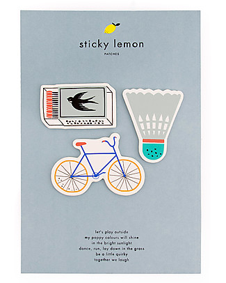 Sticky Lemon Pack of 3 Patches, Bike/Shuttle/Matches on a card Party Favours