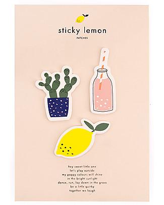 Sticky Lemon Pack of 3 Patches, Lemon/Bottle/Cactus   null