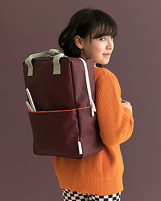 Sticky Lemon Teddy Backpack Large, Eggplant/Sage Green/Sporty Red - 27x38 cm null