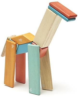 Tegu 14-Piece Set in Sunset, Magnetic Wooden Blocks - Many Different Shapes! Wooden Blocks & Construction Sets
