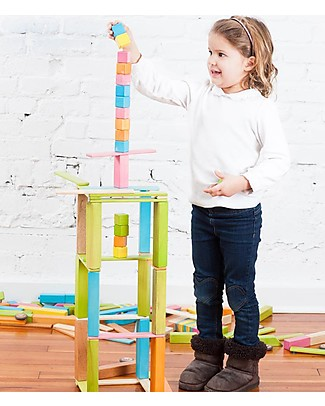 Tegu 24-Piece Set in Tints, Magnetic Wooden Blocks - Many Colours and Shapes Wooden Blocks & Construction Sets