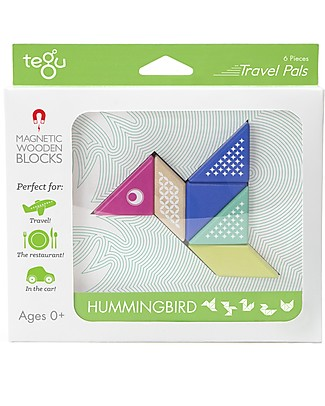 Tegu Hummingbird Travel Pal, Magnetic Wooden Blocks - Eco-Friendly and Safe! Wooden Blocks & Construction Sets