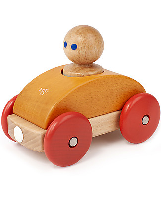 Tegu Magnetic Wooden Racer, Orange - Safe and Funny! Wooden Toy Cars, Trains & Trucks