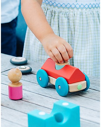Tegu Magnetic Wooden Racer, Poppy - Safe and Funny! Wooden Toy Cars, Trains & Trucks